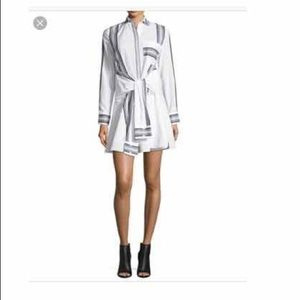 New~ Derek Lam Poplin Tie Waist Shirt dress